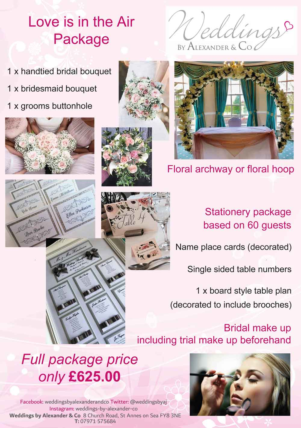 Superb Love Is In The Air wedding package - flowers, floral archway, stationery & bridal make-up
