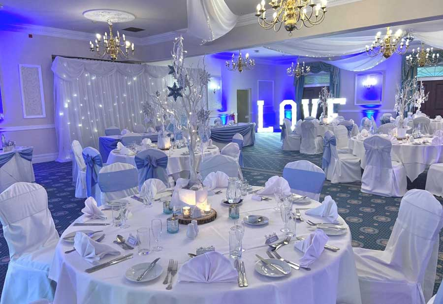 Blue & silver theme & large LOVE letter display venue styling by Sophisticated Events at Shaw Hill Golf Club Panin Suite