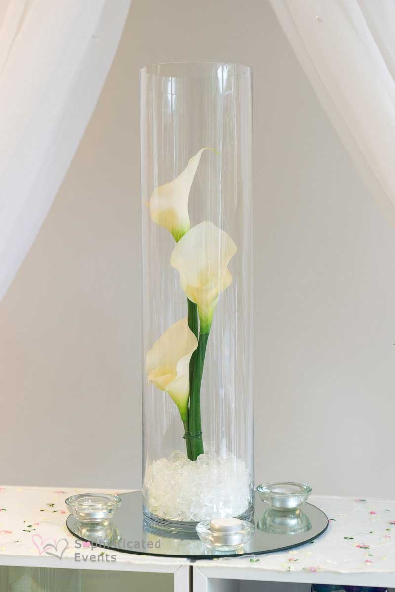 Lily vase with glass stones floating candle & water - Weddings by Alexander & Co