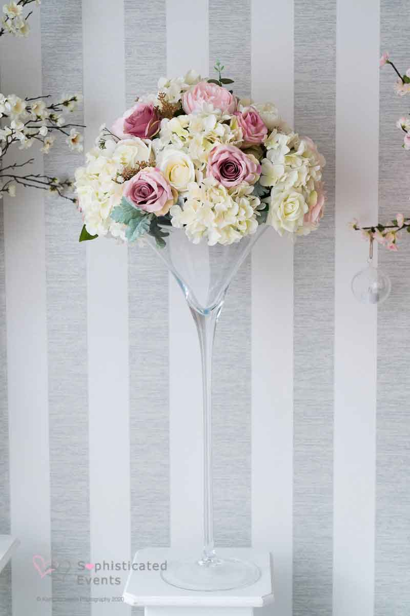 Martini glass table centrepiece with blush & ivory flowers - Sophisticated Events wedding styling
