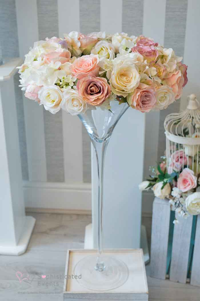 Martini glass with flower wreath wedding table or pedestal decoration - Sophisticated Events