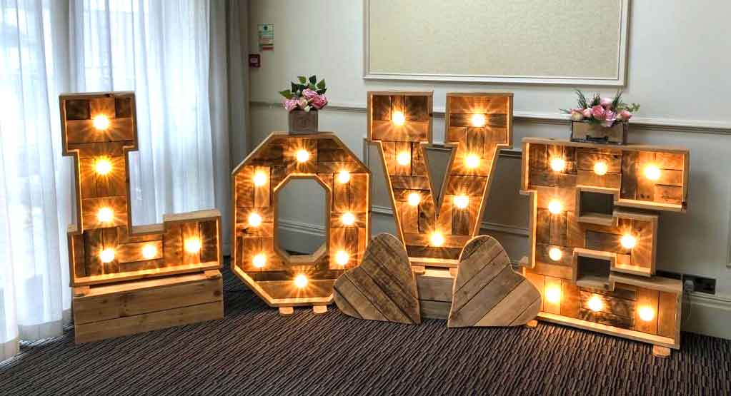 Rustic illuminated LOVE Letters & love heart hire by Sophisticated Events