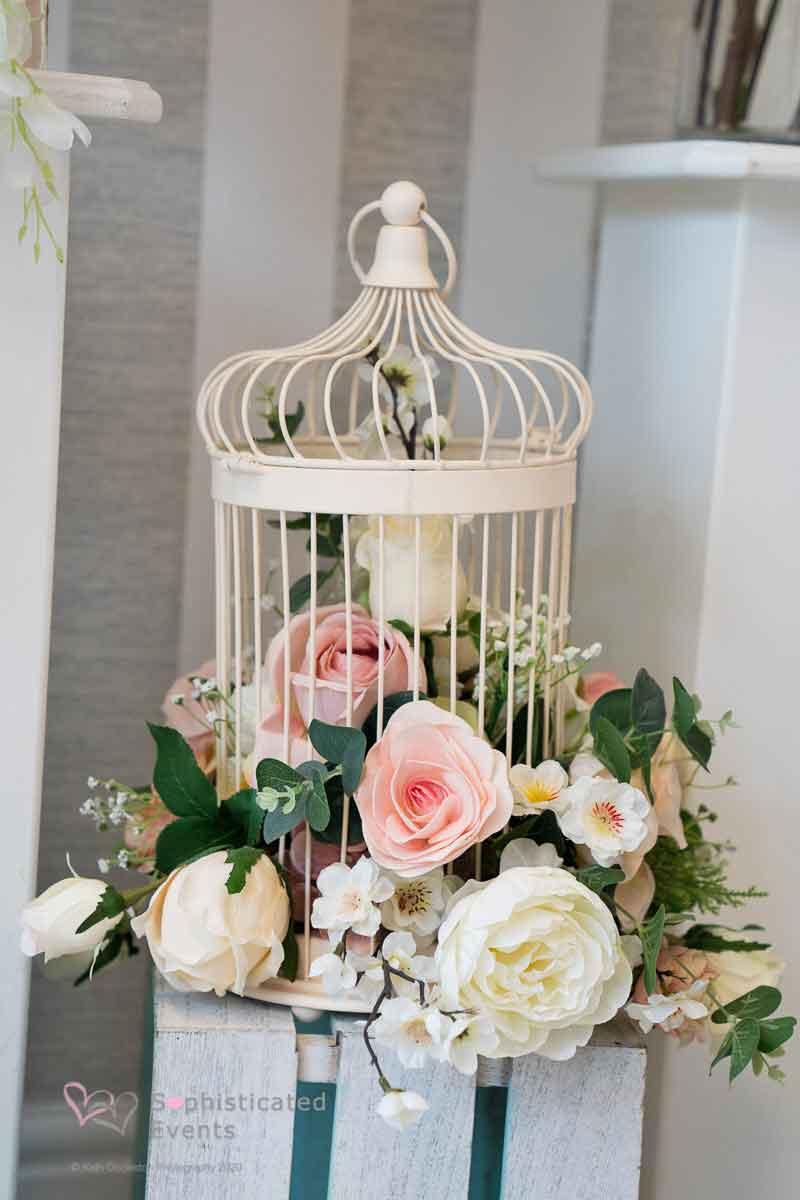 Elegant birdcage centrepiece -Sophisticated Events wedding styling