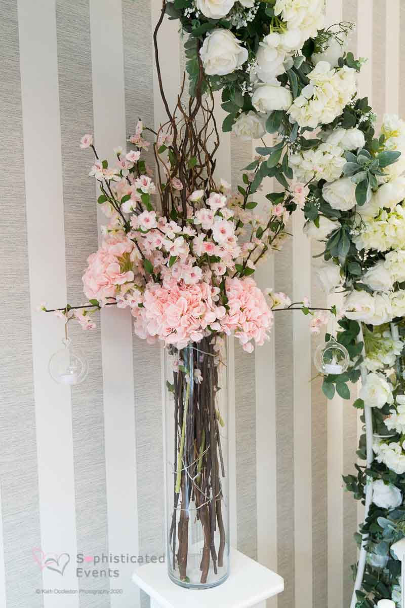 Pretty blossom  & blush twig display table decoration - Sophisticated Events