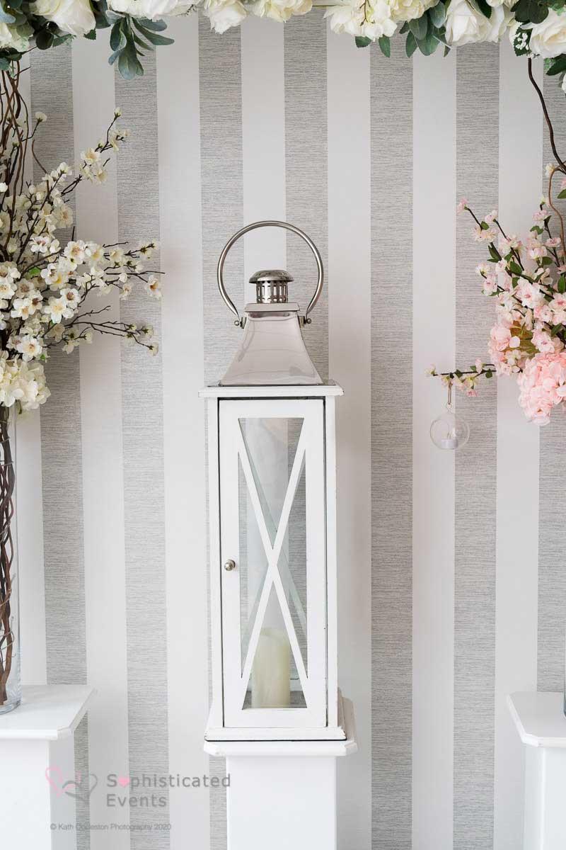 Large white lantern - Sophistcated Events Wedding Styling