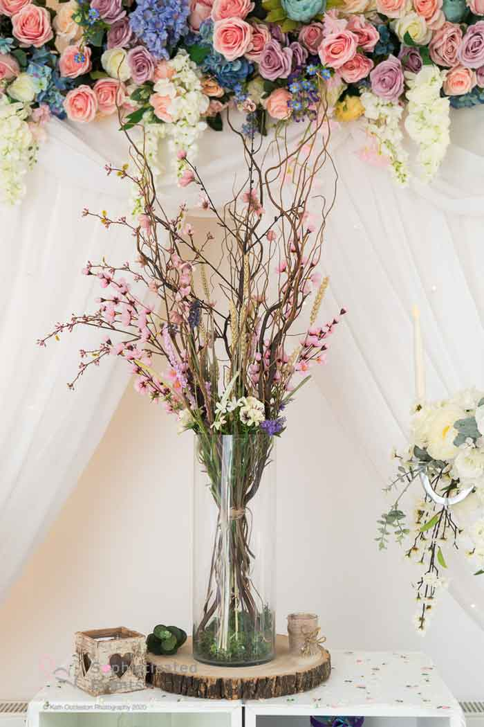 Meadow twig centrepiece display wedding decoration - Sophisticated Events wedding styling