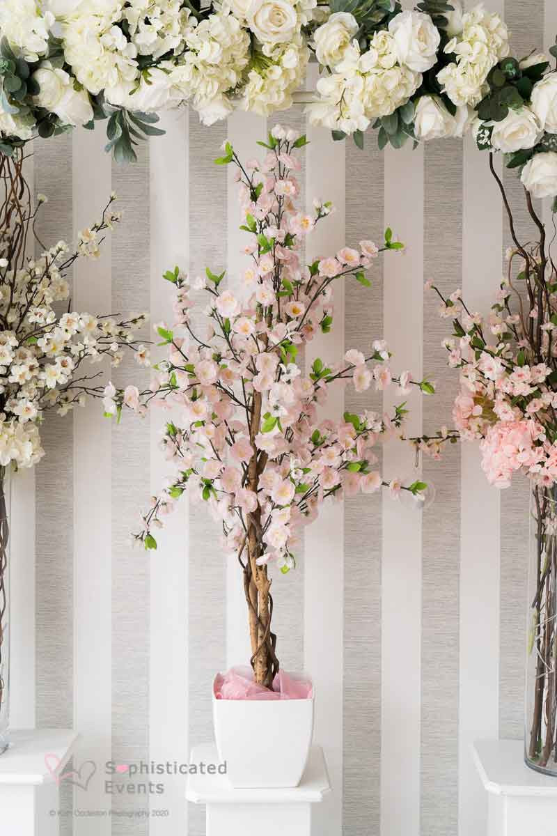 Small blush blossom tree centrepiece - Sophisticated Events wedding styling