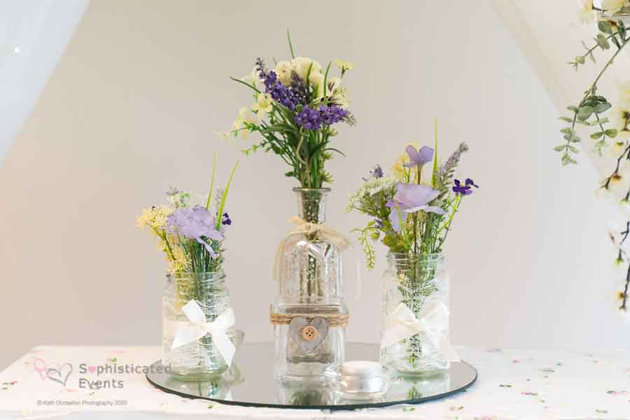 Mercury table centrepiece display - Sophisticated Events
