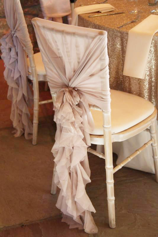 Chiavari chair frilly hood in blush pink - Sophisticated Events