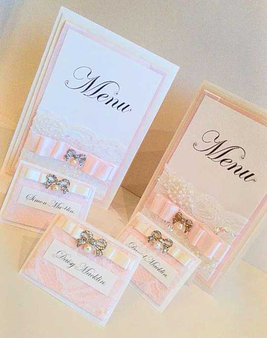 Pink satin with white lace menus & name place cards collection