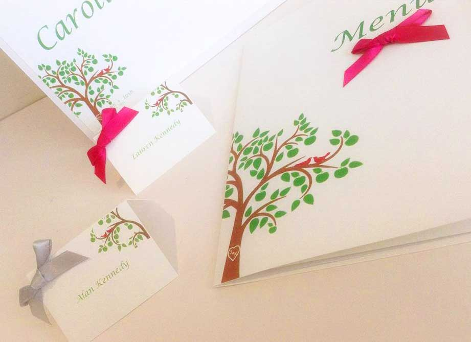 Beautiful tree menu & name place card wedding stationery collection