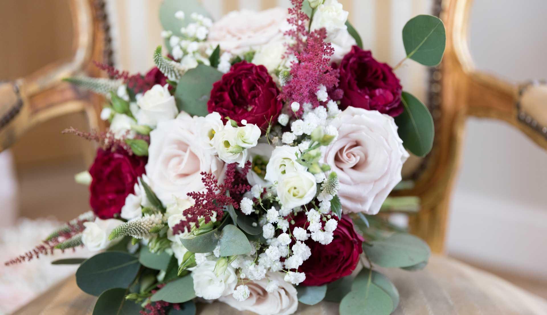 White & burgundy wedding bouquet - Heaven Scent Floral Designs