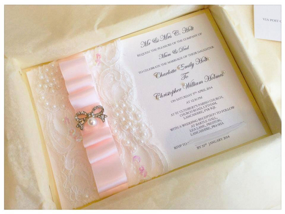Pretty in pink satin & lace wedding invitation
