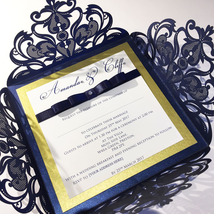 Intricate navy & gold laser cut wedding invitation by Charlotte Designs