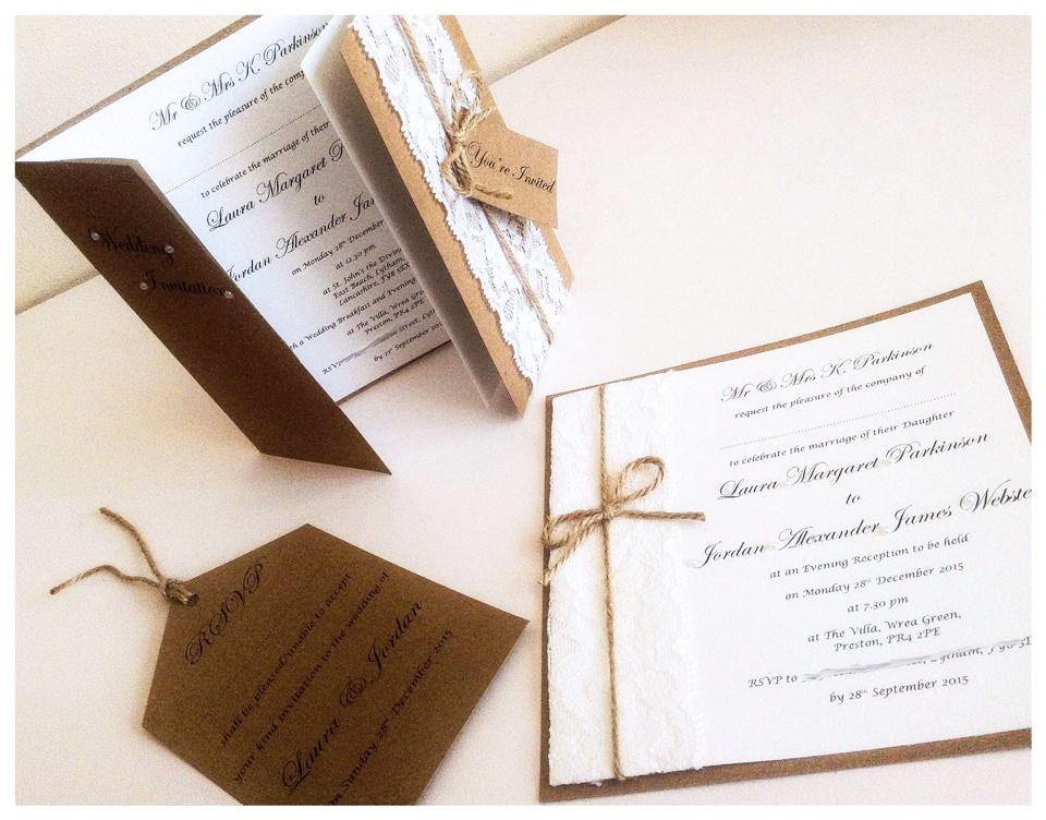 Rustic hessian & lace wedding invitation