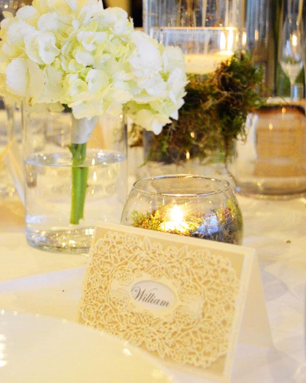 Intricate ivory floral laser cut design