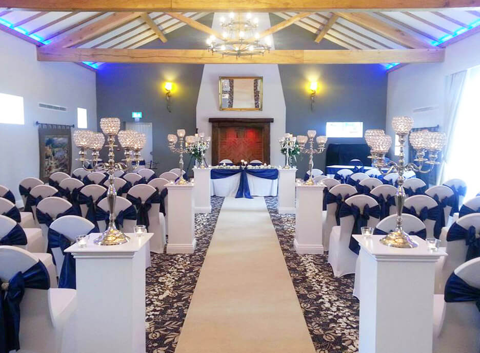 Navy & white wedding ceremony wedding styling - Sophisticated Events at The Villa