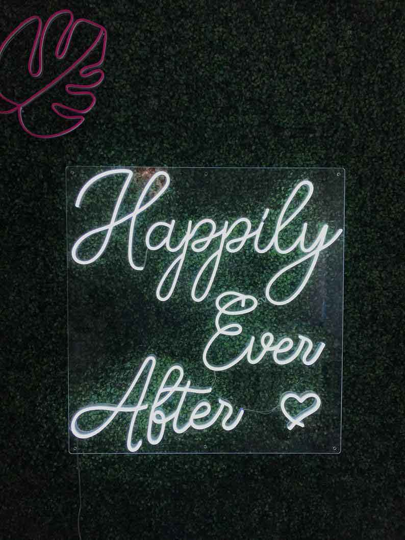 Neon Happily Ever After wedding sign