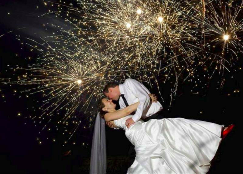 Fireworks paint a romantic backdrop to your wedding