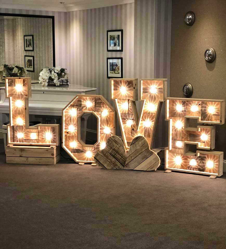 Gorgeous rustic wooden LOVE letters with grand jardin boxes & wooden hearts -Weddings by Alexander & Co wedding styling