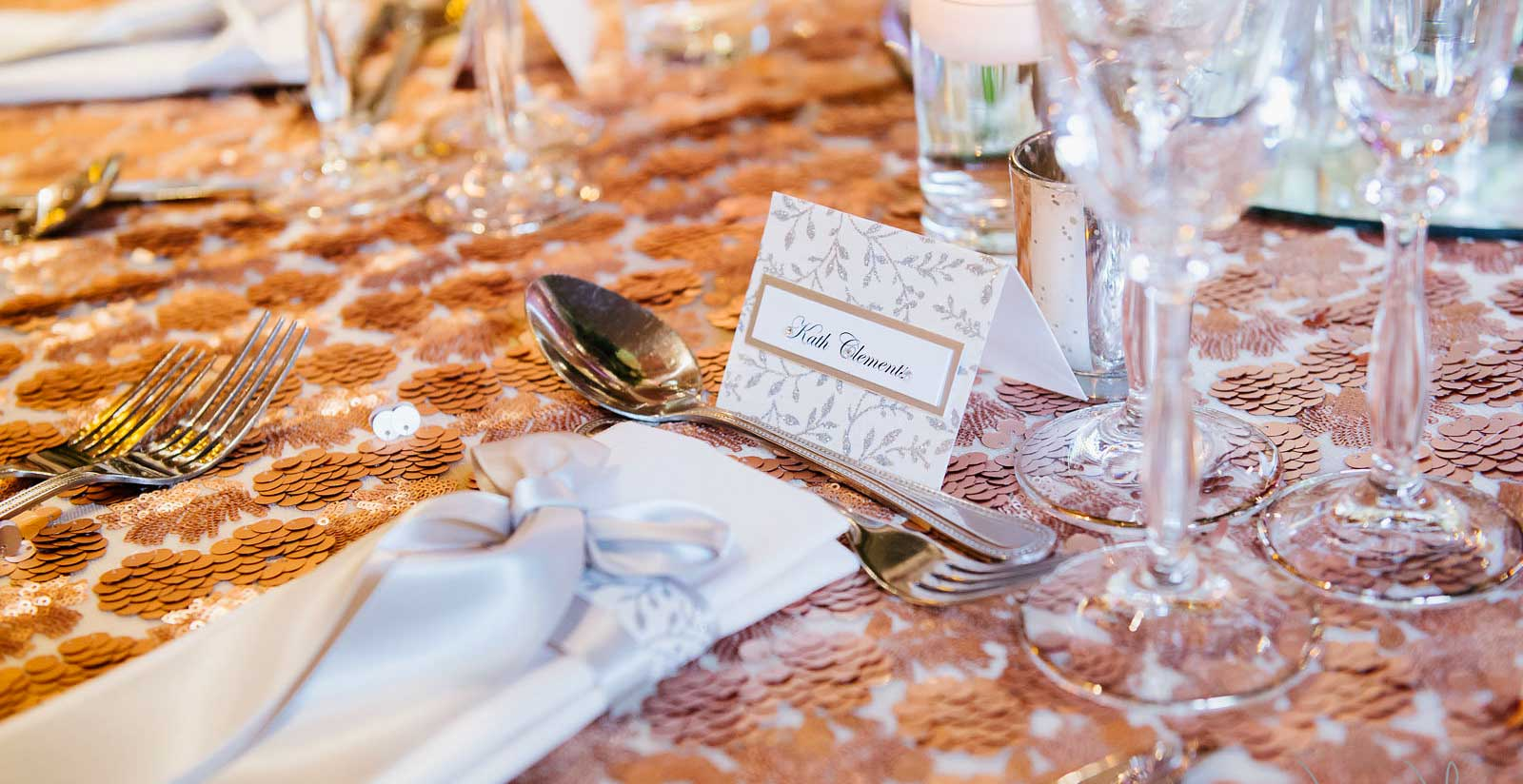 Silver leaf sparkle name place card & satin bow with lace napkin dressing