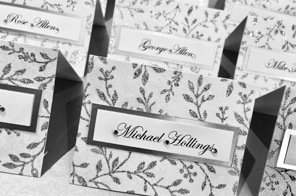 Sparkly silver leaf design wedding table name place card