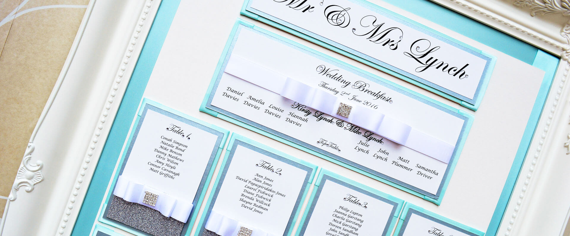 White Victorian framed table plan with aqua background & silver sparkle decoration