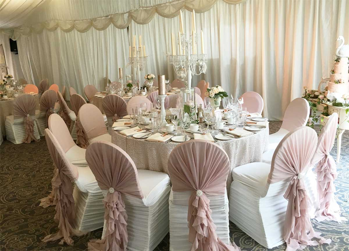 Wedding reception styling - beautiful nude ruffled hoods by Sophisticated Events