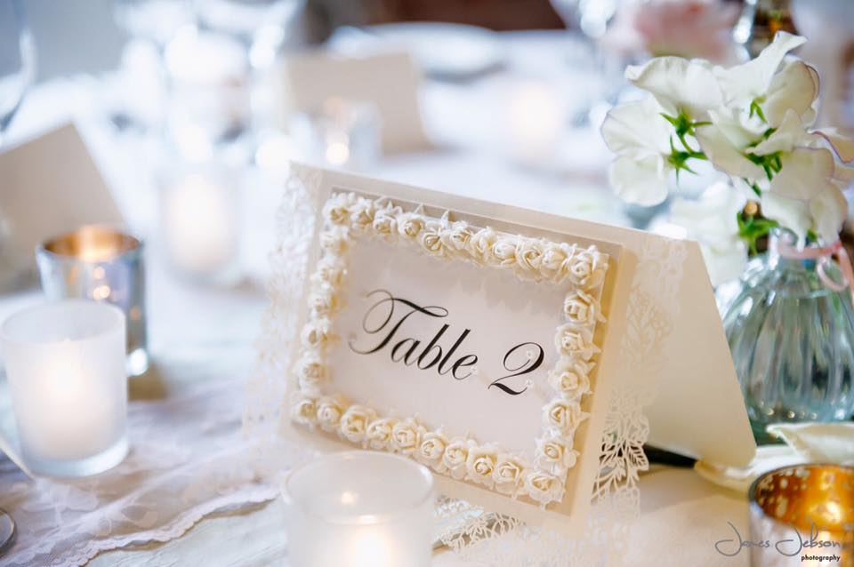 Wedding table number embellished roses on white card by Charlotte Designs