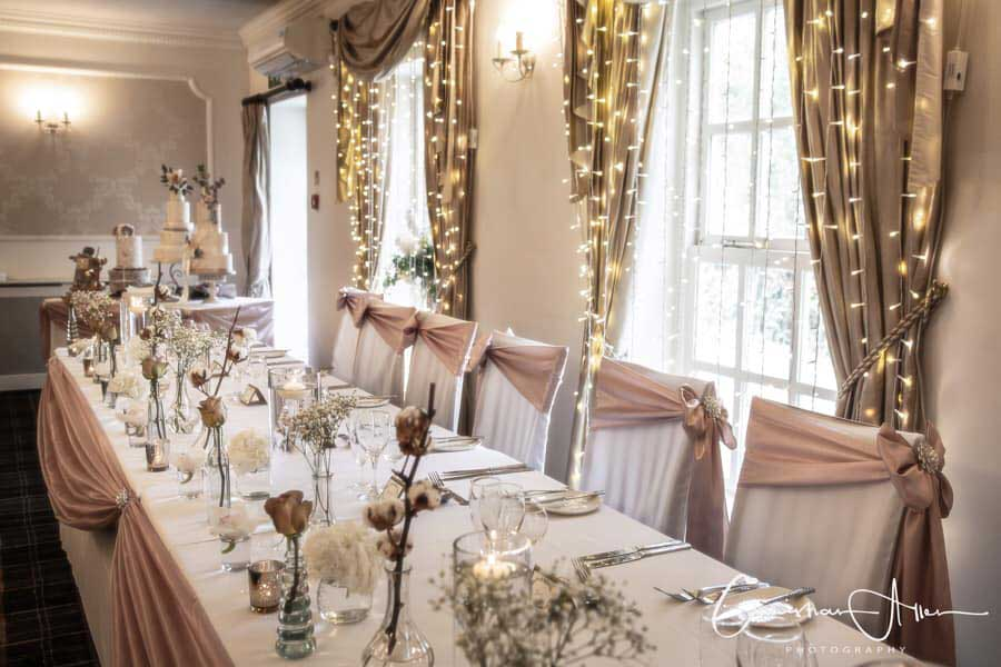 Stunning, elegant wedding venue styling by Sophisticated Events at Singleton Lodge Hotel