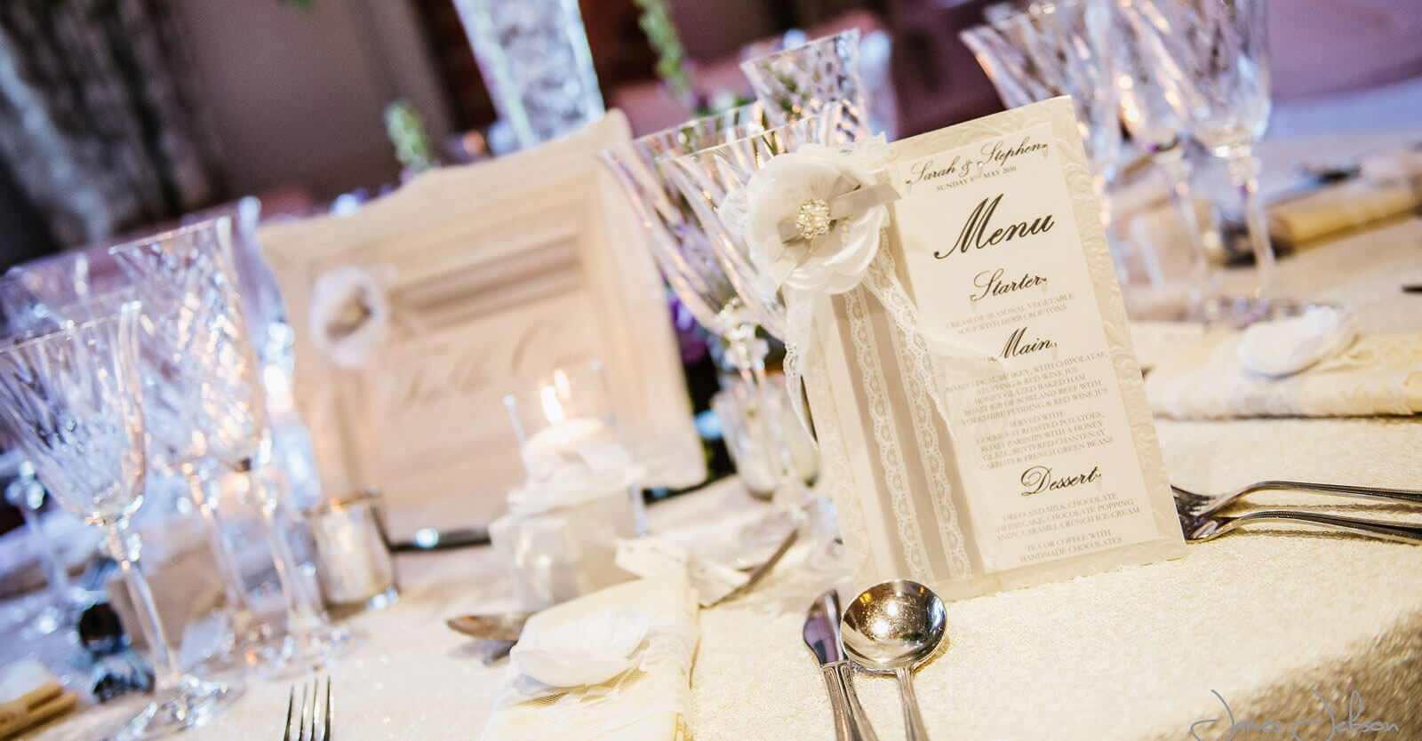 White peony flower & lace decorated table number, menu & napkin dressing