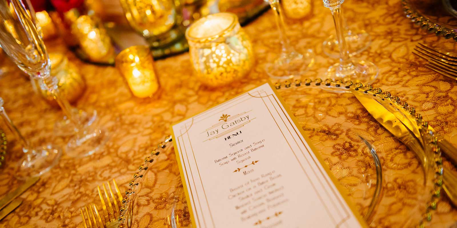 Opulent gold weddding breakfast menu by Charlotte Designs
