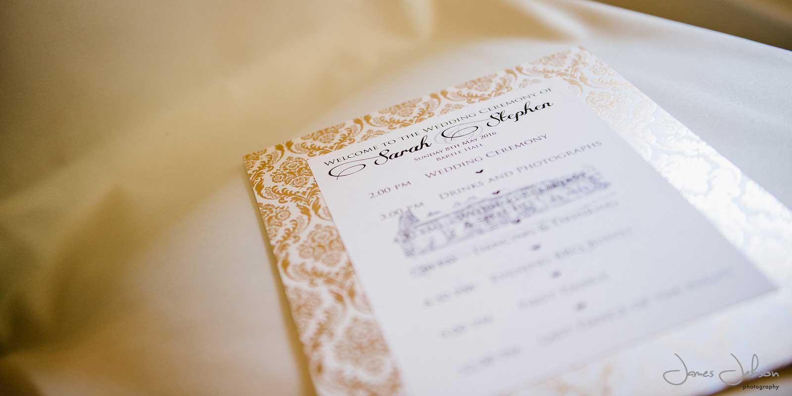 Gold foil Order of Ceremony by wedding stationer Charlotte Designs