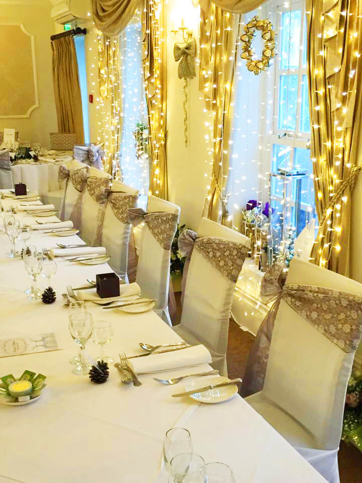 Mink & lace sash bows wedding top table by Sophisticated Events