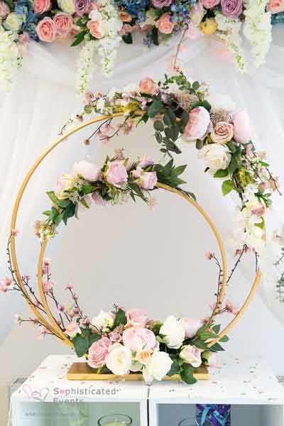 Beautiful double hoop & Moongate table centrepiece displays
